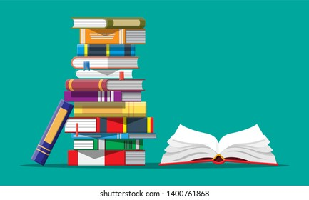 Open book with an upside down pages and pile of books. Reading, education, e-book, literature, encyclopedia. illustration in flat style