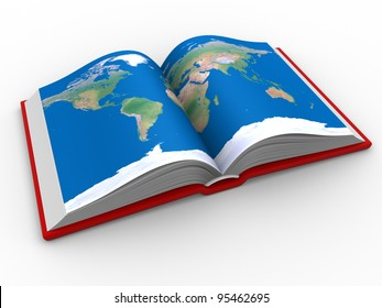 An open book with the world map. 3d render