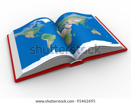 Open book world map 3 d render stock illustration 95462695 an open book with the world map 3d render gumiabroncs Choice Image