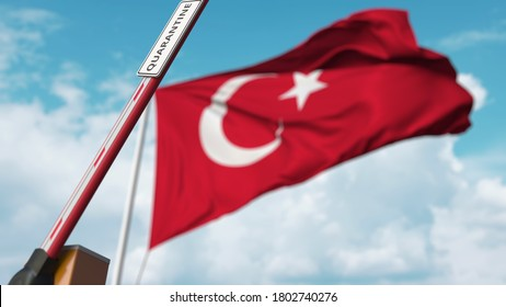 Open boom gate with quarantine sign on the turkish flag background. unrestricted entry in turkey.  3D rendering