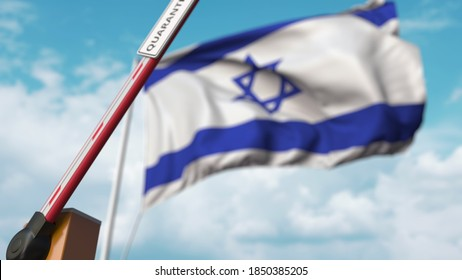 Open boom gate with quarantine sign on the israeli flag background. unrestricted entry in israel.  3D rendering