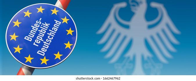 "Open borders in germany. Opend barrier with sign ""Bundesrepublik Deutschland"" (Federal Republic of Germany)."