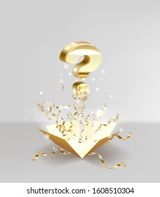 Open box with question sign and confetti explosion inside and on on white background. Mystery giftbox isolated illustration. 3D illustration