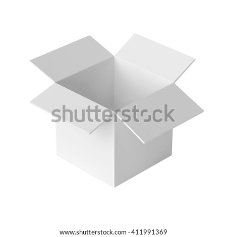 Open Box Template Isolated On White 3D Illustration