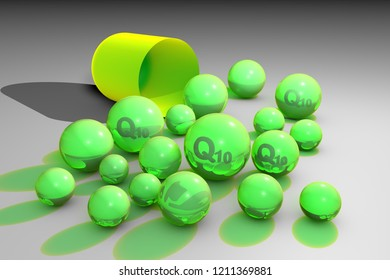 Open capsule with essential coenzyme Q10 pills. Ubiquinone pills. Vitamin and mineral complex. Healthy life concept. Medical background. 3d illustration