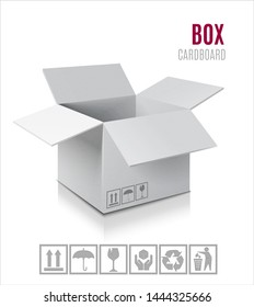 Open Cardboard box icon. 3d model of box.