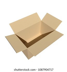 open cardboard box on white. 3d rendering.