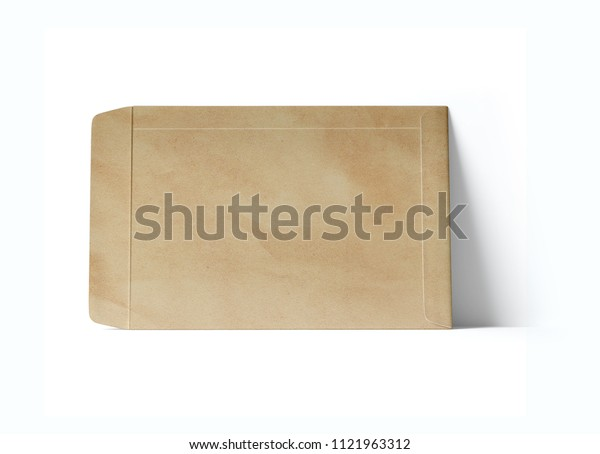Open cardboard envelope on a white background. Front view. 3D illustration