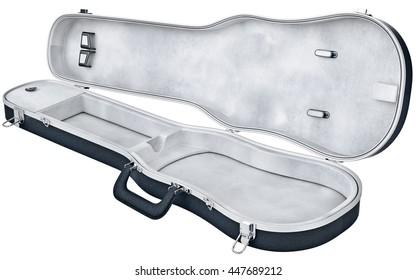 Open case viola, violin musical instrument accessories. 3D graphic