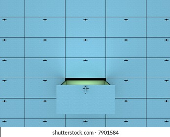 Open cell in safety deposit box. 3D image.