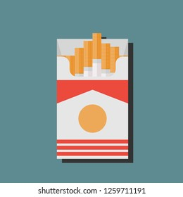 Open cigarettes pack box flat style  illustration isolated on a background, icon logo design idea, symbol, smoke problem concept, narcotic, product, production, tobacco, cigarette symbol.