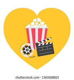 Open clapper board Movie reel Popcorn Cinema icon set. Heart shape. I love movie. Flat design style. White background. Isolated.