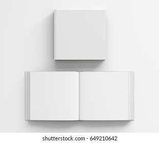 Open and closed blank square book with white cover isolated on white background. Include clipping path around each book cover. 3d illustration