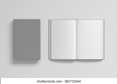 Open and closed books with gray cover and blank pages isolated on white background. Include clipping path around each book. 3d render