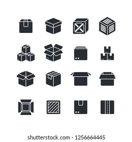 Open and closed box black silhouette icons isolated. Package symbols