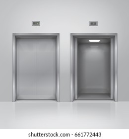 Open and closed chrome metal elevator doors. 3d illustration