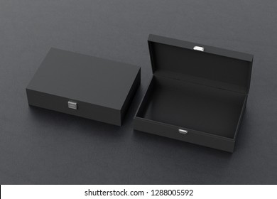 Open and closed empty black long boxes or caskets on black background. 3d illustration