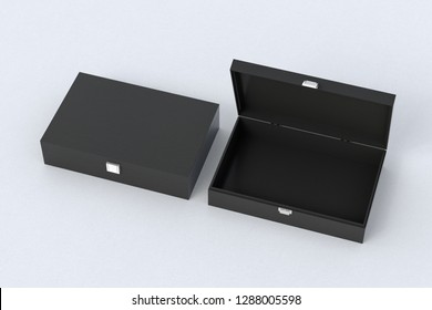 Open and closed empty black long boxes or caskets on white background. 3d illustration
