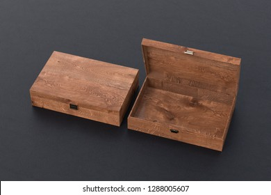 Open and closed empty dark wooden long boxes or caskets on black background. 3d illustration