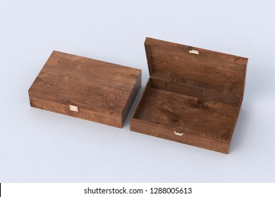 Open and closed empty dark wooden long boxes or caskets on white background. 3d illustration