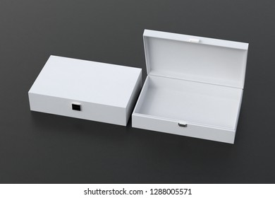 Open and closed empty white long boxes or caskets on black background. 3d illustration