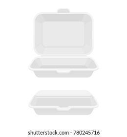 Open and closed fast food takeout container. White styrofoam lunch box for takeaway food. Isolated illustration.