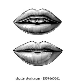 Open and closed female sexy mouth isolated on white. Vintage engraving stylized drawing