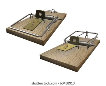 Open and closed mousetrap on white background
