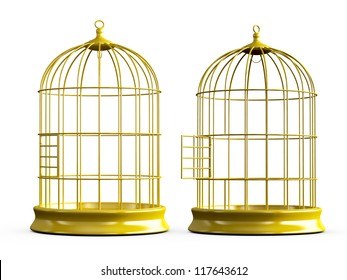 Open and closed, shiny, empty, golden bird cage, isolated on white background.