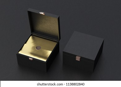Open and closed square black leather gift box or casket on black background. Include clipping path around box. 3d render