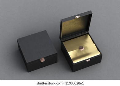 Open and closed square black leather gift box or casket on gray background. Include clipping path around box. 3d render