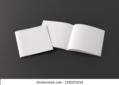 Open and closed square blank booklet on black background with clipping path around booklets. 3d illustration