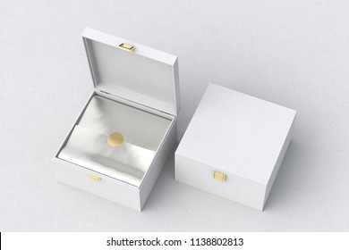 Open and closed square white gift box or casket on white background. Include clipping path around box. 3d render