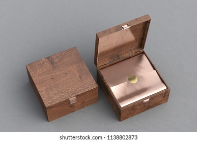 Open and closed square wooden gift box or casket on gray background. Include clipping path around box. 3d render
