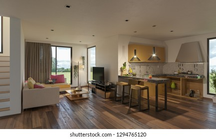 Open Concept Kitchen and Lounge by the Stairs 3D Rendering