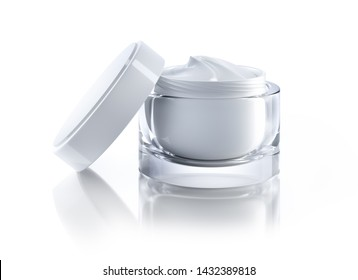 Open cream jar with cosmetic cream - 3D illustration