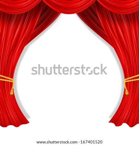 f254e628f Royalty-free stock illustration ID  167401520. Open curtain. Red fabric and  yellow garter belt - Illustration