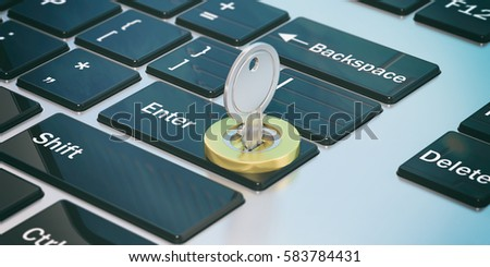 Open data, security issues. Key and golden lock on a computer keyboard. 3d illustration