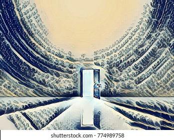 Open Door Abstract Painting. 3D rendering