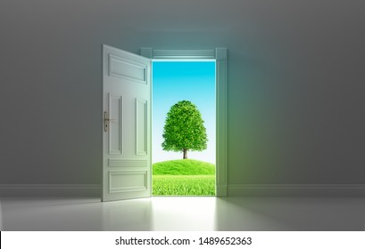 Open door to agreen environment - concept future - 3D illustration