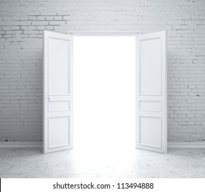 open door in  brick wall