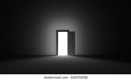 An open door with bright light streaming into a very dark room. Background Illustration. 3D rendering illustration