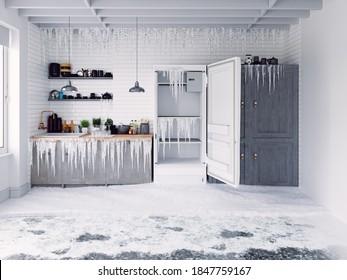 Open door fridge  and frosen kitchen interior. 3d  conceptual illustration