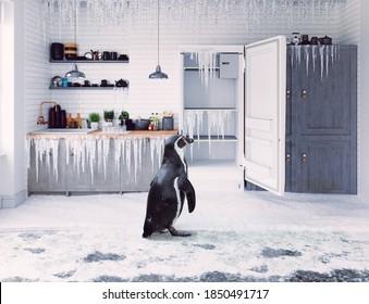 Kühlschrank und Pinguin im Kücheninnenbereich. 3D- und Fotokonzeptuelle Illustration