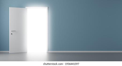 Open door with glowing light from bhind in room with wooden floor and blue wall, paradise, exit or vision concept, 3D illustration