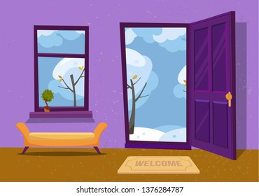 Open door into winter landscape cloudy view with snowy trees. Door mat and yellow bench in room. Flat cartoon textured purple illustration. Trees with round crown under clouds sky