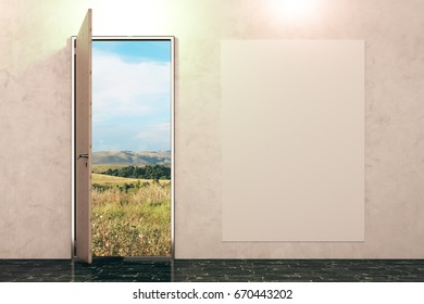 Open door with landscape view in concrete interior with empty poster on wall. Sucess concept. Mock up, 3D Rendering
