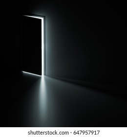 Open Door and Light Behind It. Opportunity or Potential Concept 3d Illustration