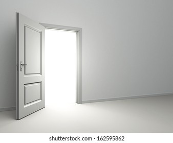 open door and light coming into interior room