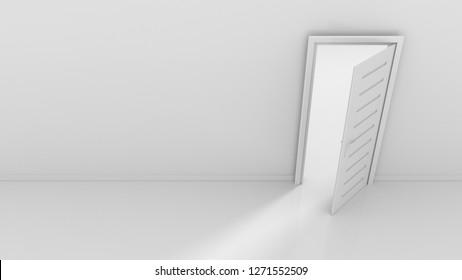 Open door and light flow 3d rendering